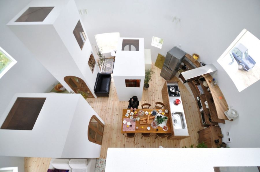 Open living plan with private units