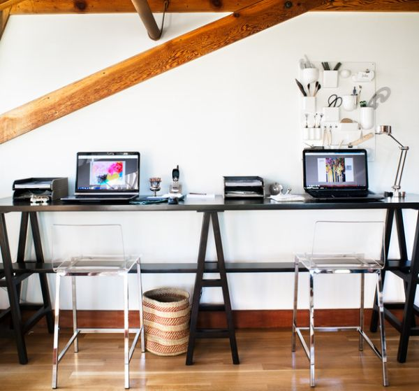 Smart home office design with transparent Vapor Bar Stools