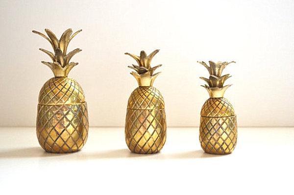 Three brass vintage pineapples