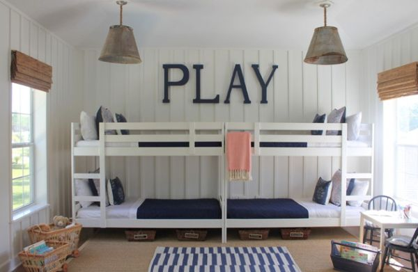Blue and white color scheme is a classic that always works for boys' bedroom