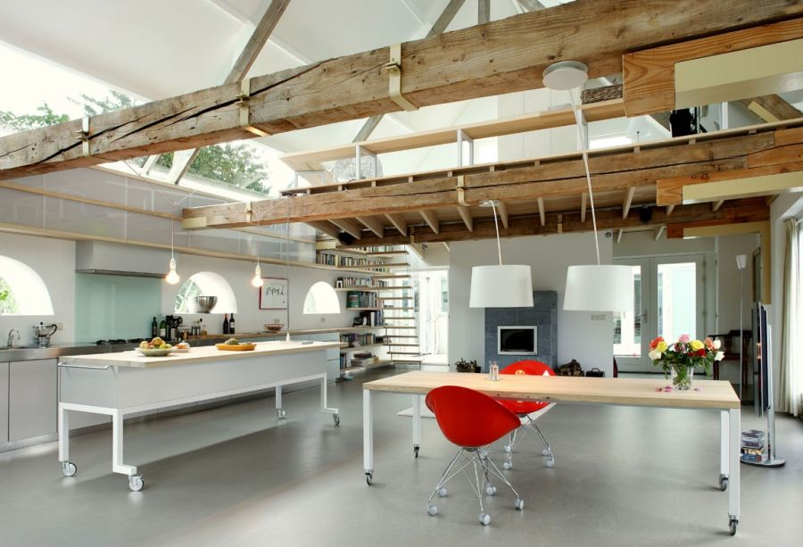 Exposed wooden beams add a rustic touch