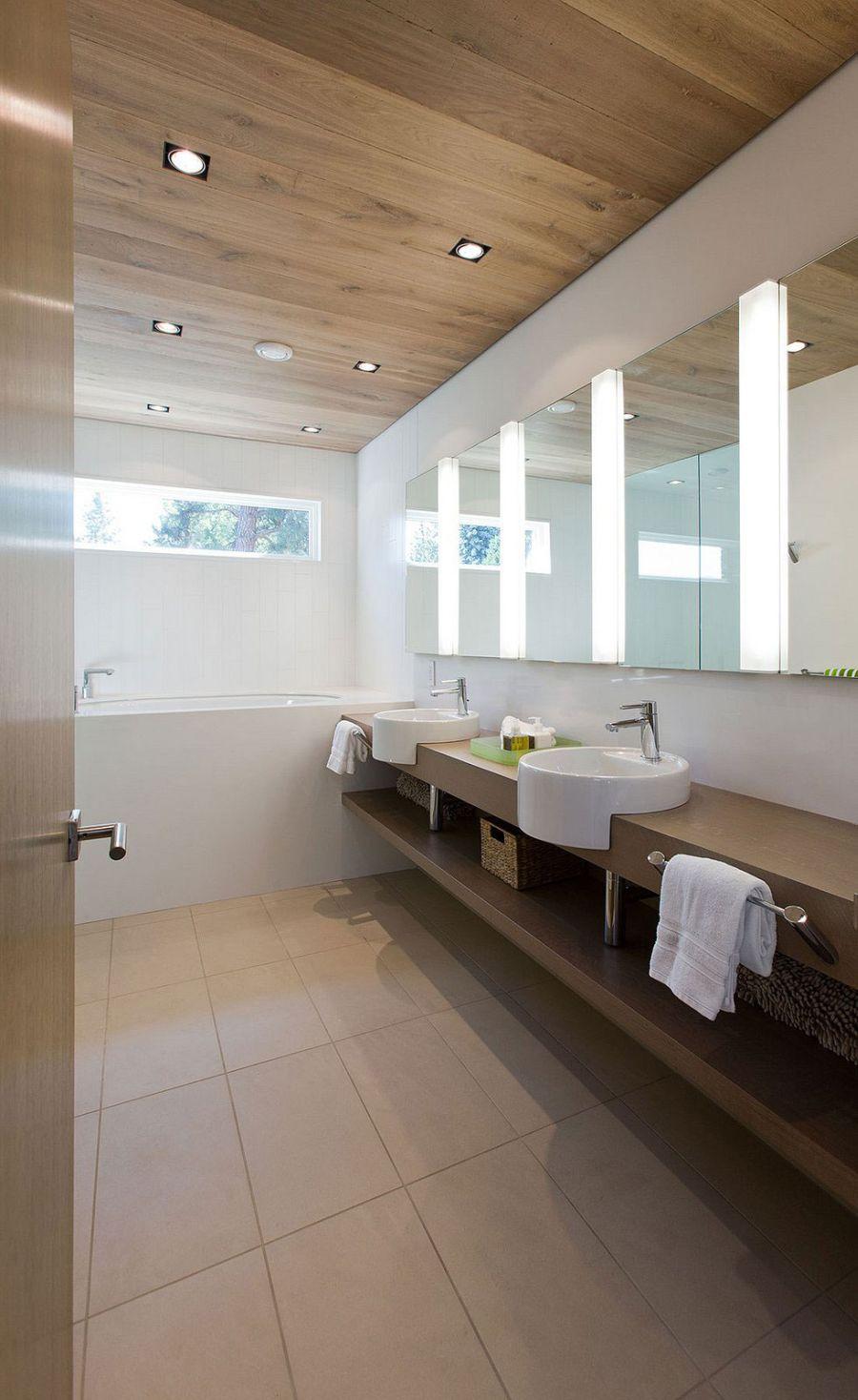 Floating vanity in the bathroom with storage