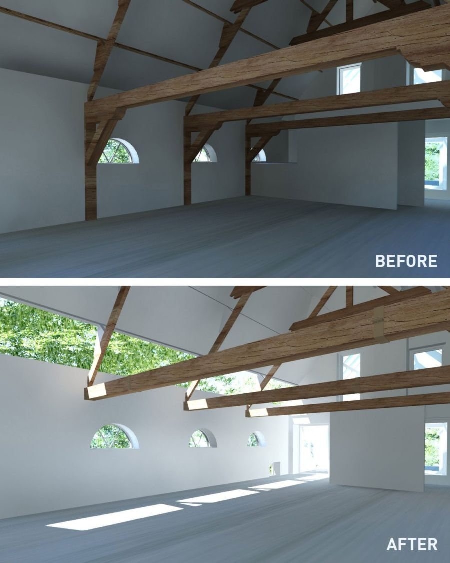 Interior of House G before and after renovation