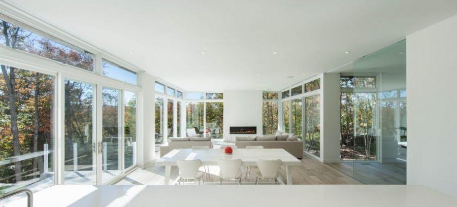 Large living room in white