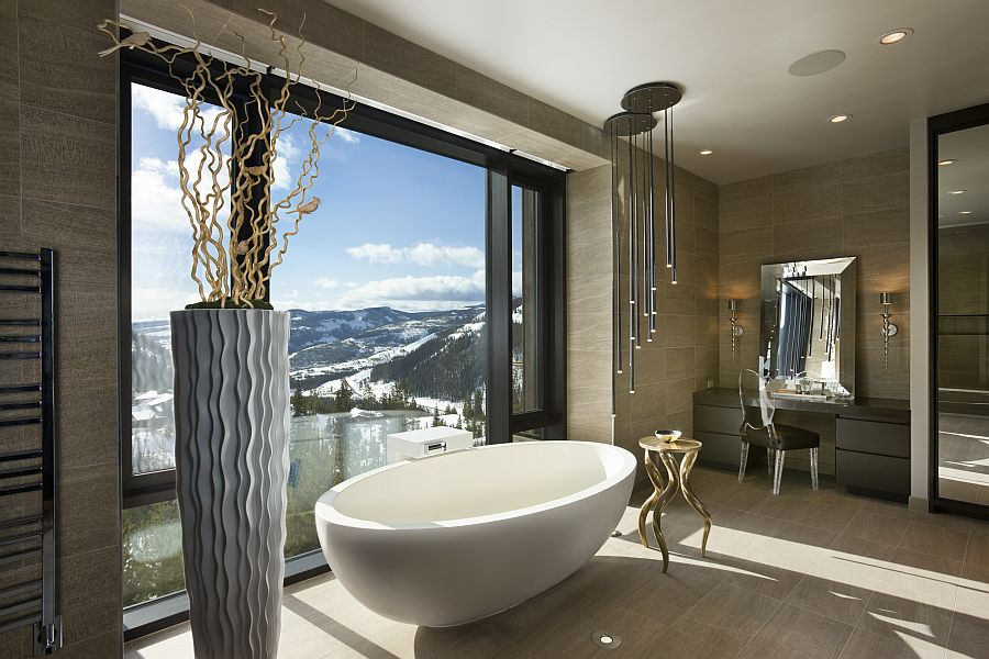 Master bathroom with a view of Snow-capped mountains