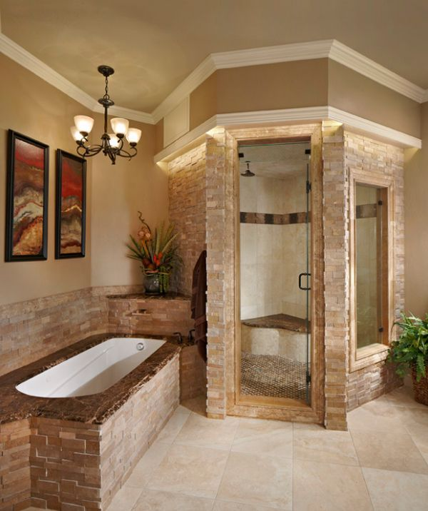 Stacked stone steam shower looks classy and elegant