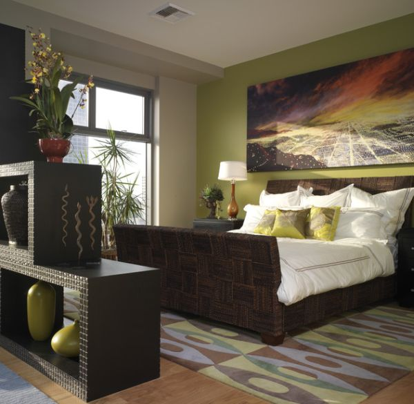 Stunning sleigh bed adds both textural and geometric contrast to the bedroom