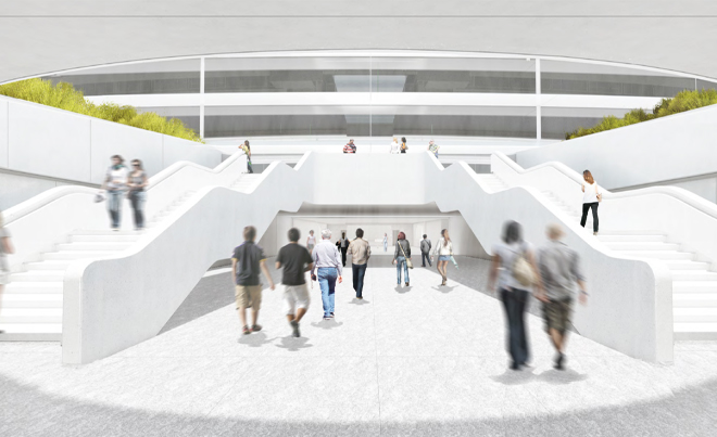 Transit center image at the new Apple headquarters