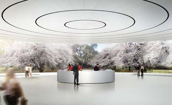 Underground auditorium at the new Apple campus
