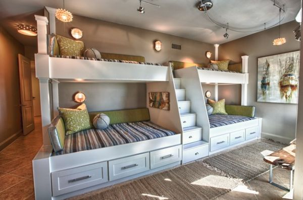 Utilize the unique design of the room with custom bunk beds
