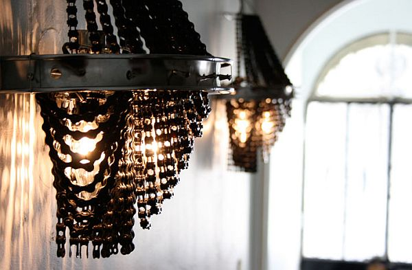 upcycled bicycle parts into lighting