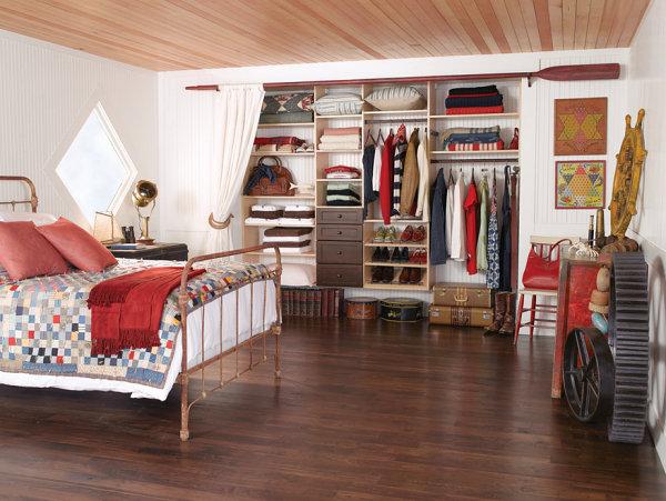 Beautifully organized closet in a rustic space