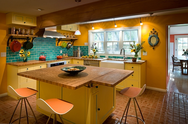 Colorful farmhouse kitchen with the Onda Swivel Bar Stool