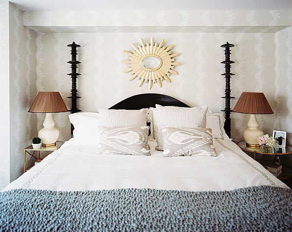Cream patterned wallpaper in a relaxing bedroom