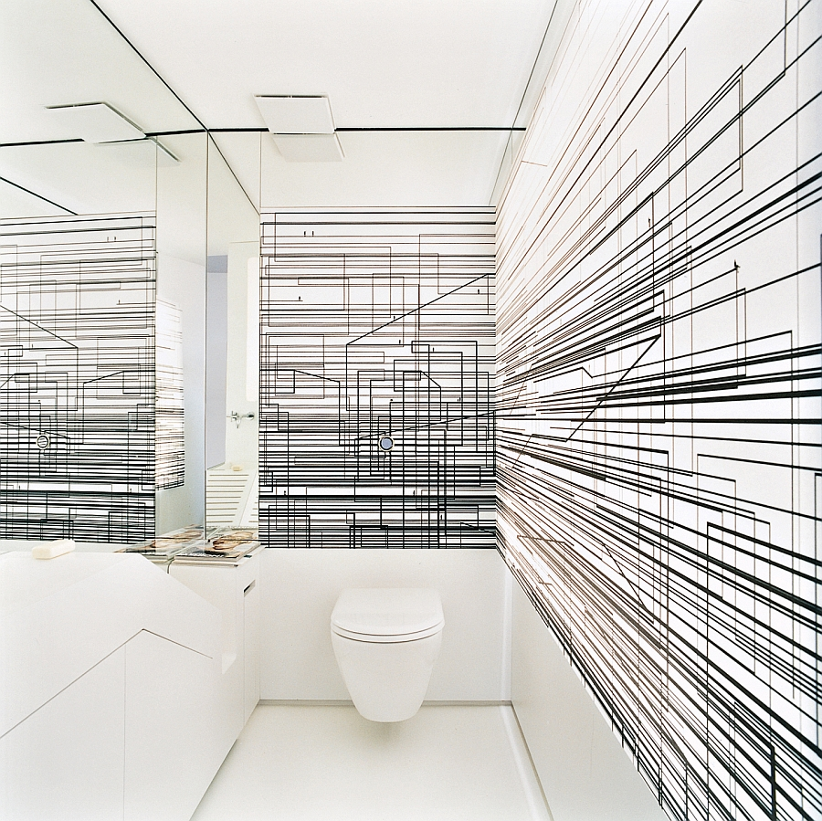 Fabulous toilet with abstract design on the walls