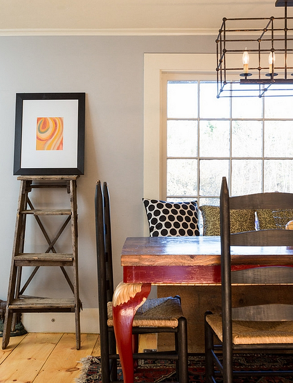 Farmhouse styled dining room with a minimal ladder display