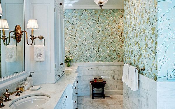 Floral wallpaper for a serene bathroom