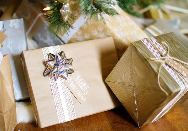 Gold and silver Christmas wrap