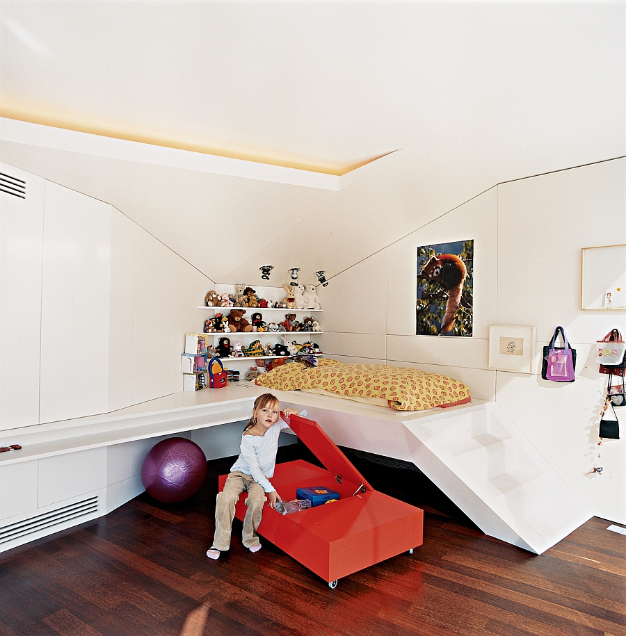 Kids' penthouse bedroom in white