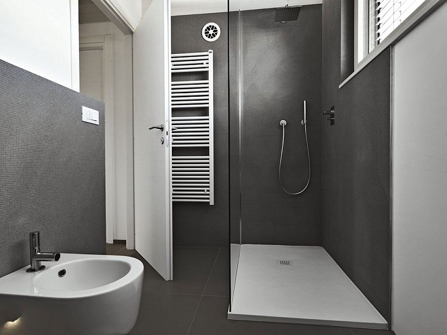 Minimalist contemporary bathroom in grey and white