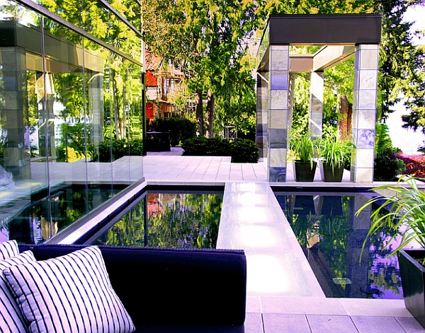 Posh reflecting pools become an extension of the interior