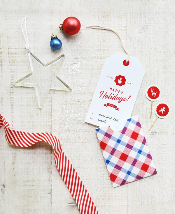 Retro-style gift tag and envelope