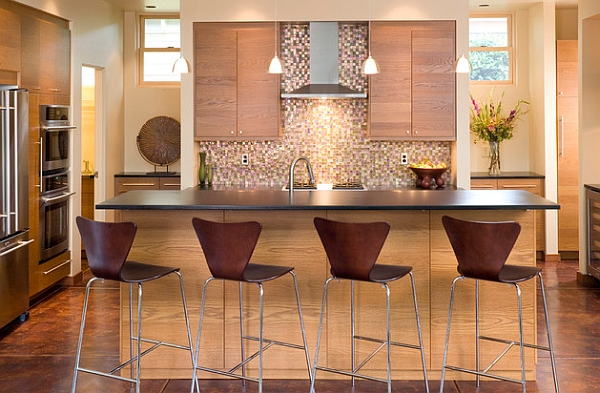 Series 7 Stools blend with the wooden tones of the kitchen