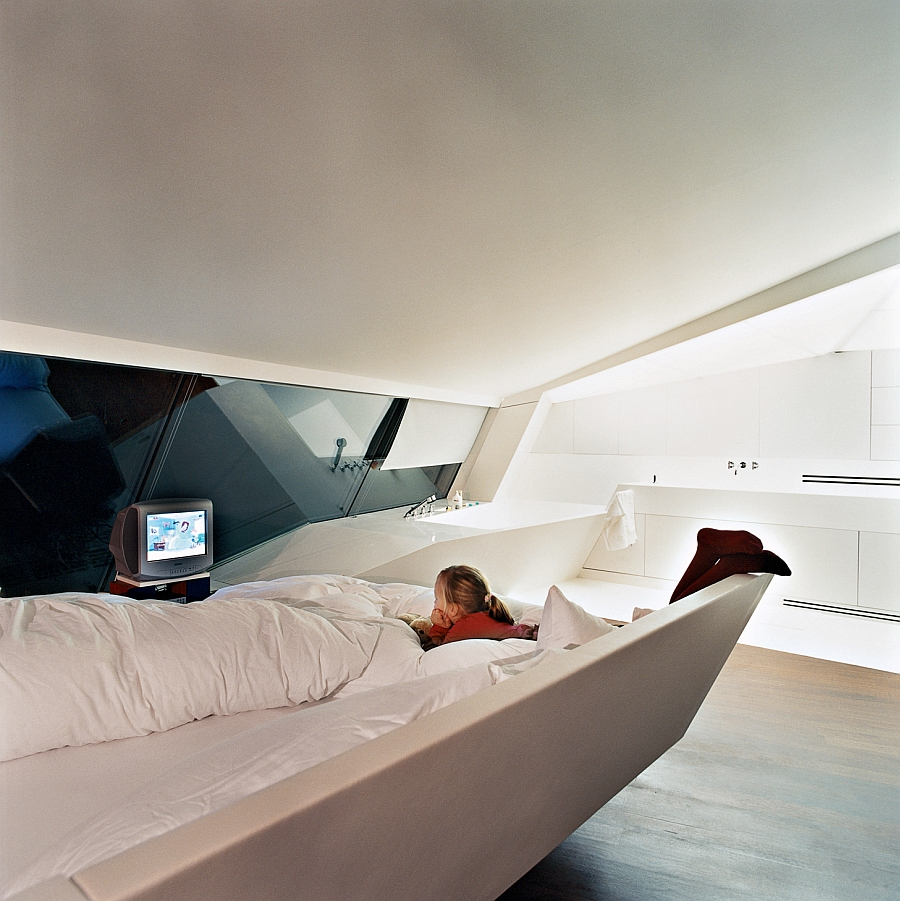 Smart ceiling and decor design give the space-age style