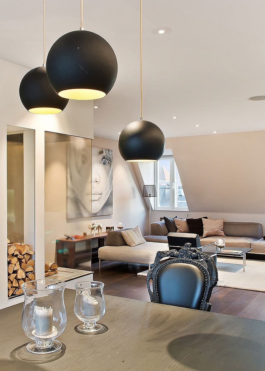 Smart pendant lights add contrast to the neutral setting