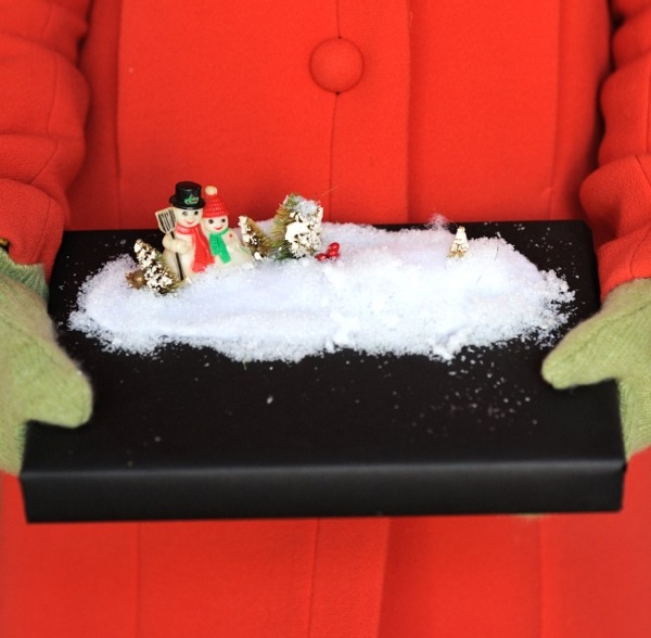 Snowscape gift wrap idea