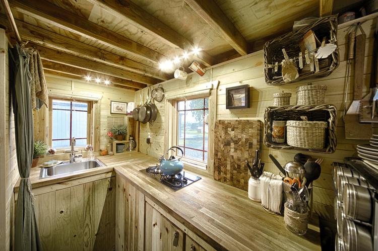 Tiny kitchen idea with storage space