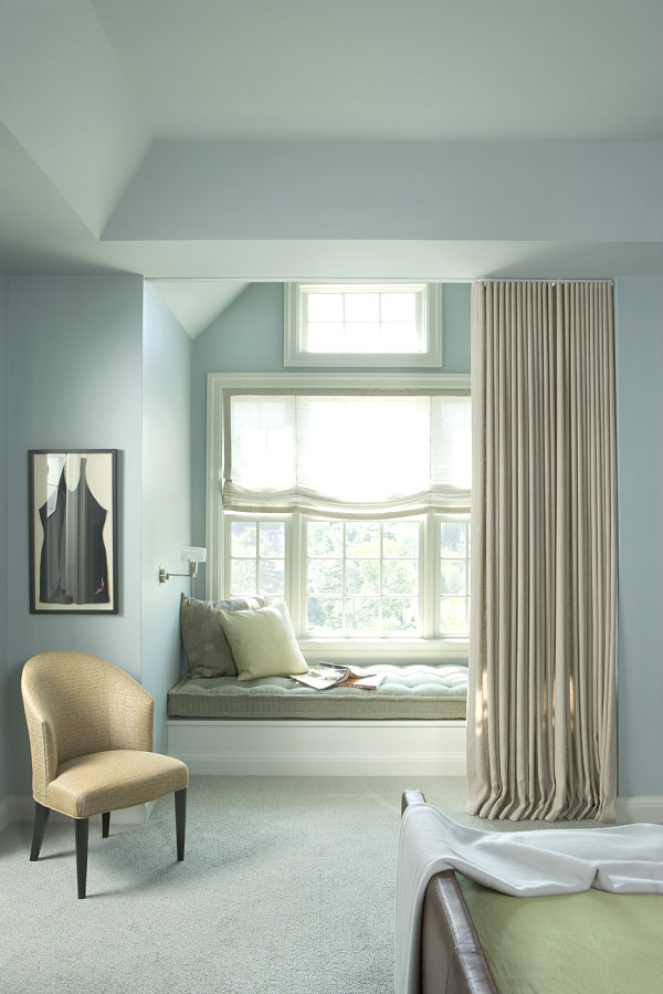 Window seat with a curtain
