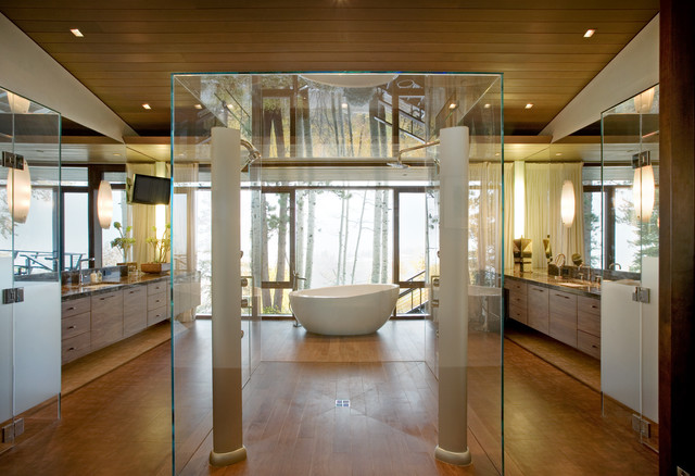 contemporary his and hers bathroom