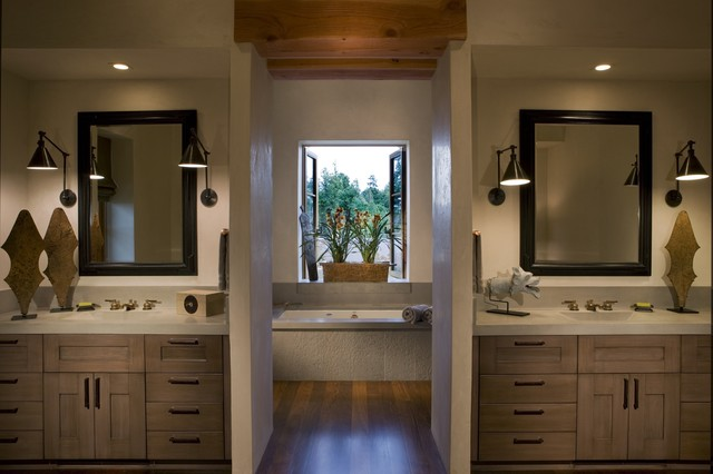 modern his and hers bathroom