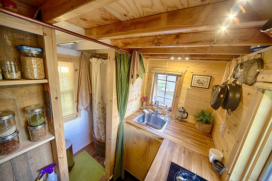 small hand-built kitchen covered in woode