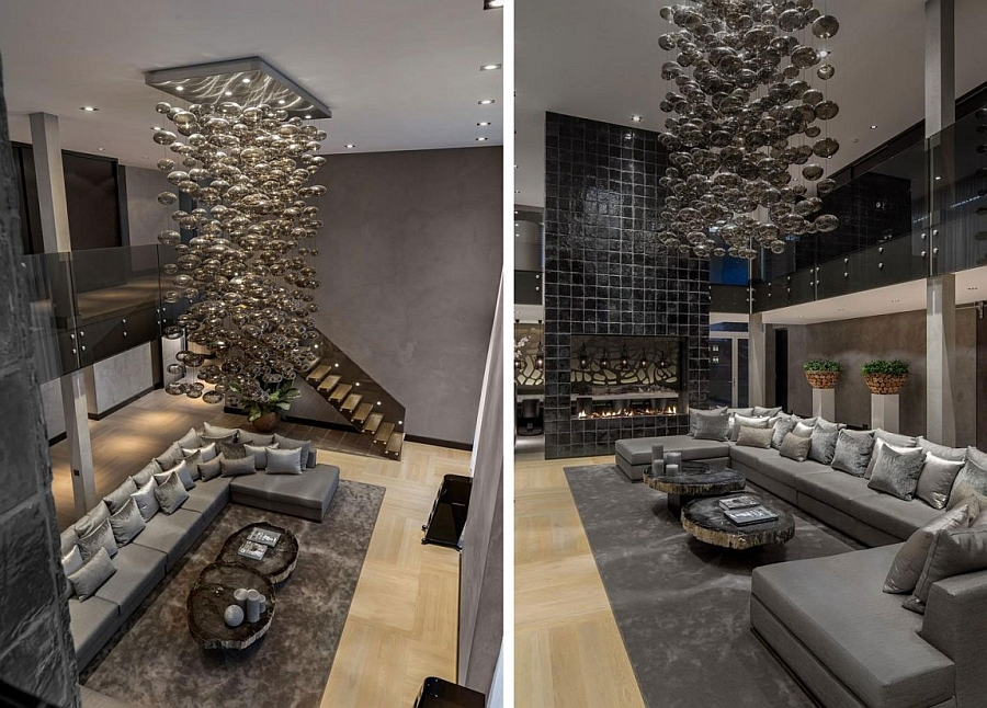 Amazing staggered chandelier in the living room