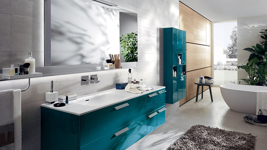 Baltic Blue cabinets for the modern bathroom