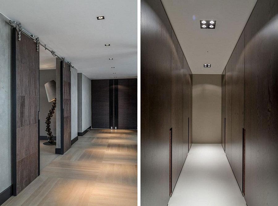 Beautiful corridors of the modern home with wooden walls