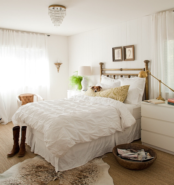 Brass works beautifully in a relaxing bedroom as well