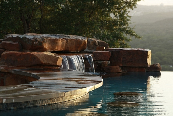 Closer view of the waterfall feature