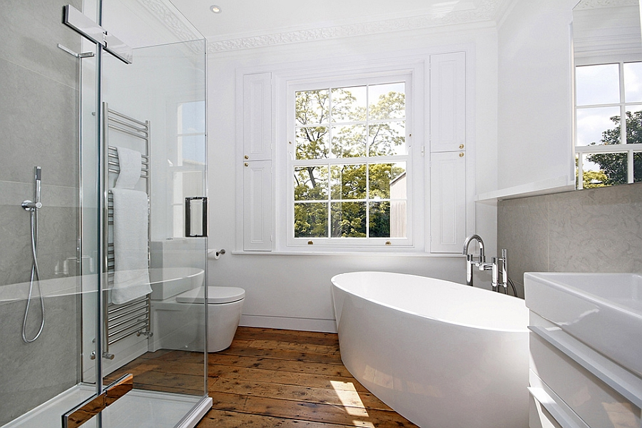 Contemporary bathroom in white with standalone tub