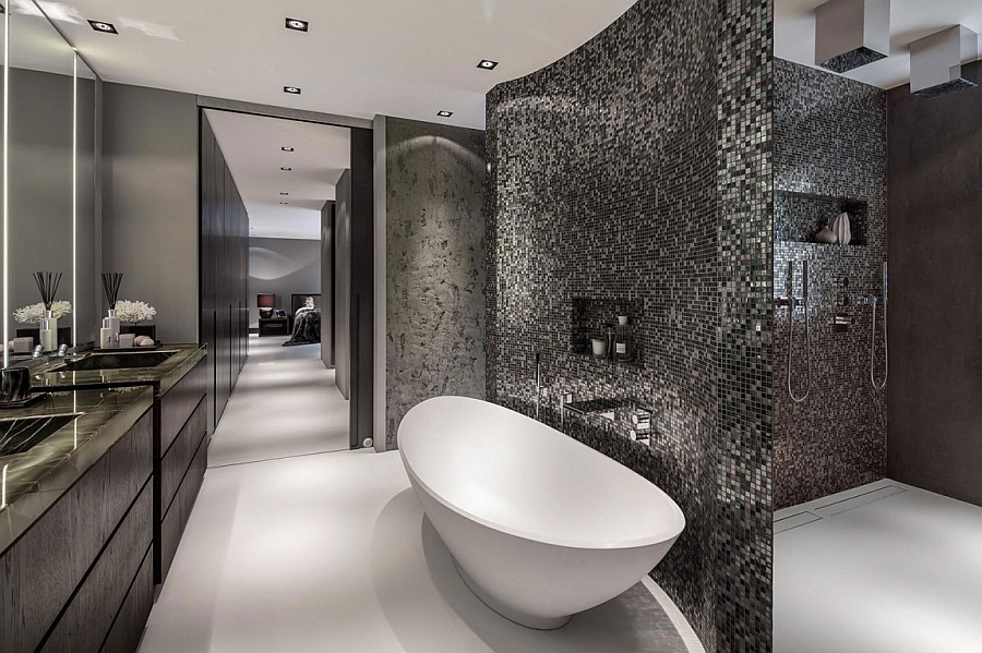 Contemporary bathroom with standalone tub in white