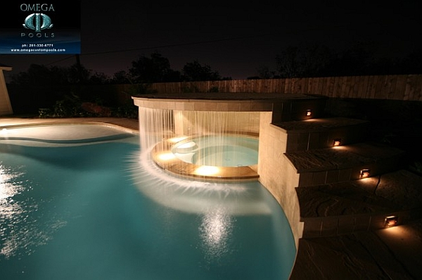 Contemporary pool waterfall design with a clean and well defined look