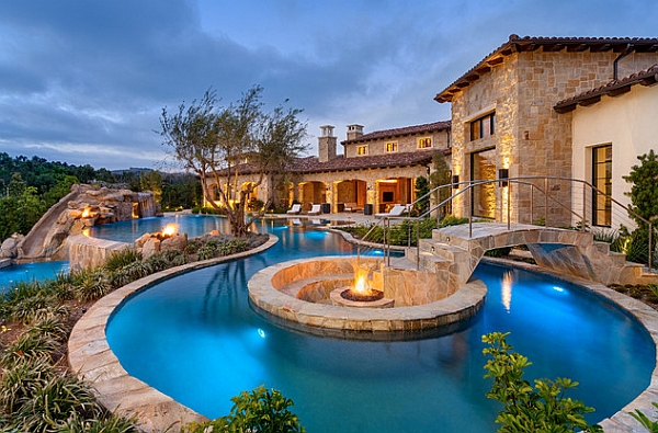 Dream backyard designs incorporates a multitude of glitterig features