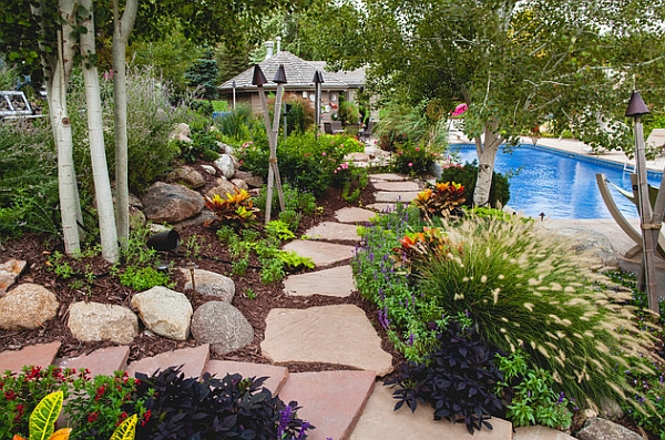 Fabulous garden pathway lined with Tiki torches