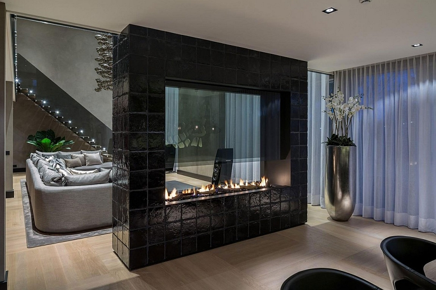 Grand two-sided fireplace in the living room