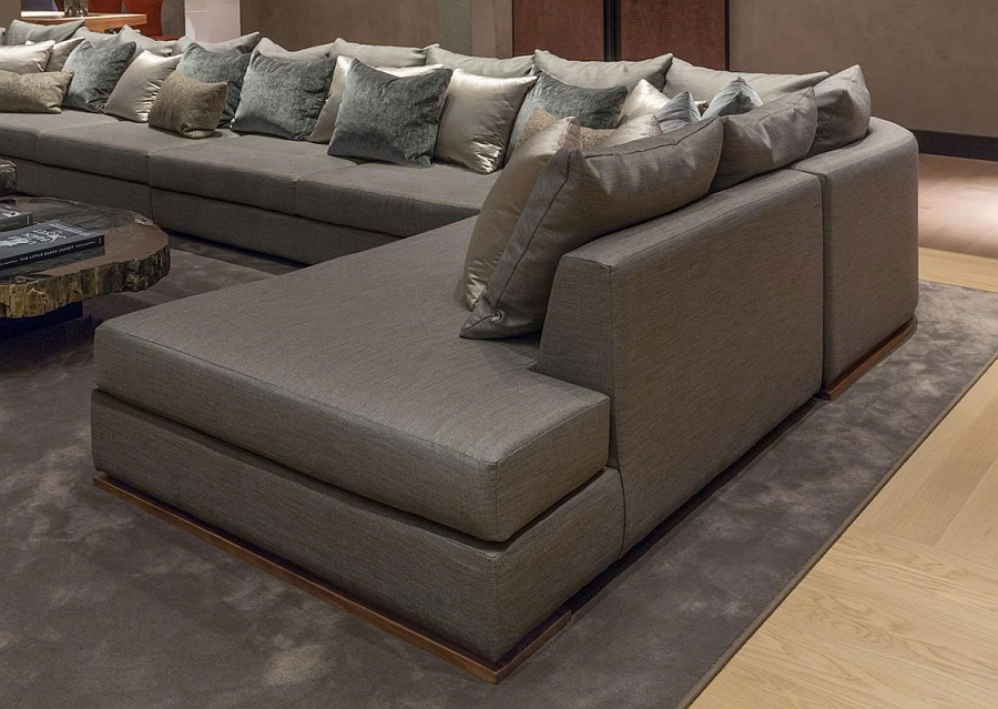 Large couch in grey with throw pillows
