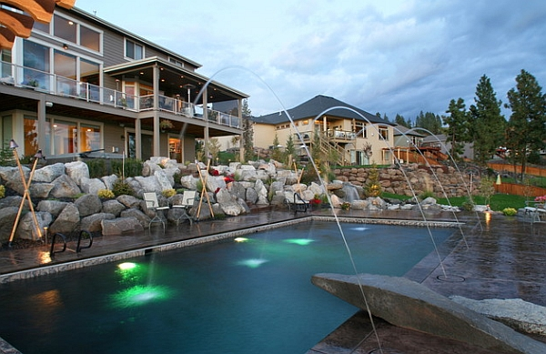 Poolside lighting with Tiki torches