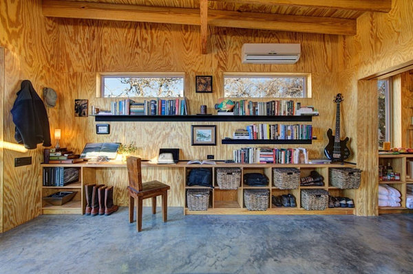 Rustic shelving in a cabin-like space