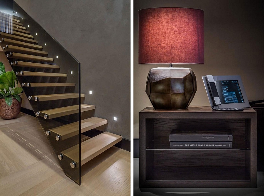 Staircase with glass railing and cool table lamp in red